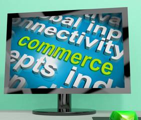 Commerce Word Cloud Screen Shows Commercial Activities