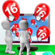 Number 16 Balloons from Monitor Show Internet Invitation or Cele