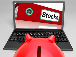 Stocks Laptop Means Trading And Investment On Web
