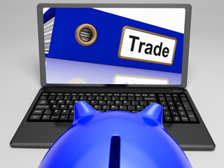 Trade Laptop Shows Internet Trading And Transactions