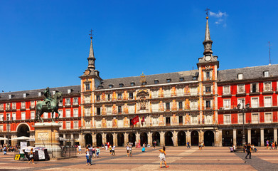 Picturesque view of  Plaza Mayor. Madrid