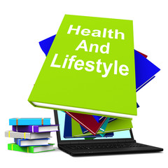 Health and Lifestyle Book Stack Laptop Shows Healthy Living