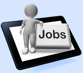 Jobs Button With Character Tablet Shows Hiring Recruitment Onlin