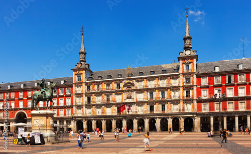 canvas print picture Picturesque view of  Plaza Mayor. Madrid