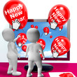Happy New Year Balloons Show Online Celebration Or Invitations