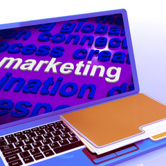 Marketing In Word Cloud Laptop Means Market Advertise Sales