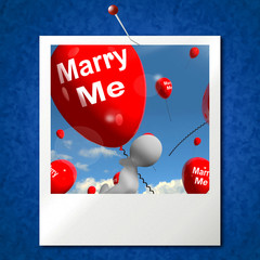 Marry Me Balloons Photo Represents Engagement Proposal for Lover
