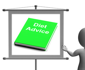 Diet Advice Book  Sign Shows Weight loss Knowledge