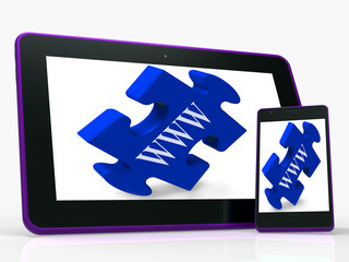 WWW Smartphone Shows Internet Web And Online