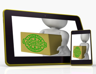 Logistics Tablet Means Packing And Delivering Products