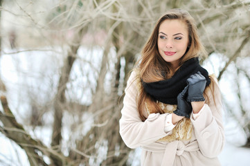 Sensual young girl portrait in winter