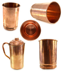 Set with Indian kitchen ware made of copper