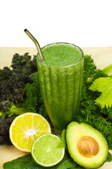 Delicious detox green smoothie with copy-space