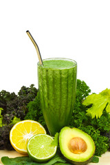 Healthy detox raw green vegetable smoothie