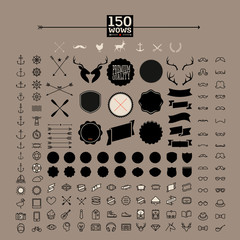 150 WOW awesome hipster icon, label, sticker and badge,