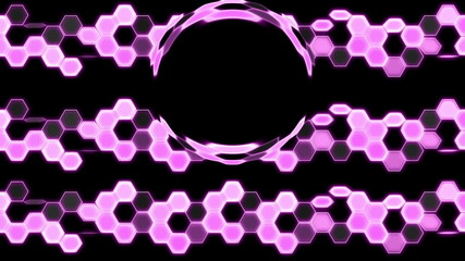 Purple Looping Hexagon Tech Abstract with ocular effect