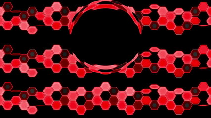 Red Looping Hexagon Tech Abstract with ocular effect