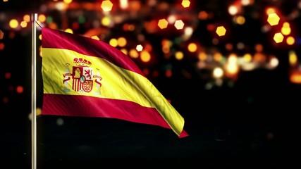 Spain National Flag City Light Night Bokeh Loop Animation