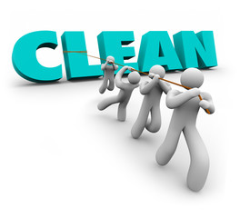Clean 3d Word Pulled Up Team People Working Together Cleaners