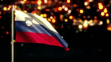 Slovenia National Flag City Light Night Bokeh Loop Animation