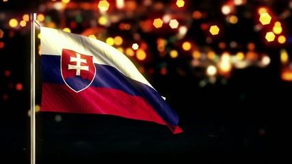 Slovakia National Flag City Light Night Bokeh Loop Animation