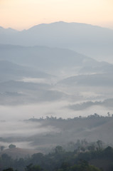 Mountain range with mist in the morning
