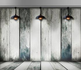 Ceiling lamp in wood room