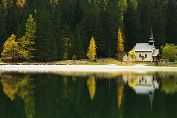 Church Reflection on Lago di Braies, Dolomites, Italy