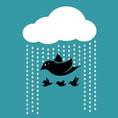 Birds flying in the sky when it rains.