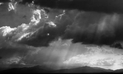 Dramatic sky with sunrays at Sabah, East Malaysia, Borneo
