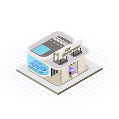 Isometric Car Showroom Vector Illustration