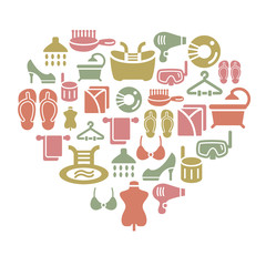 Beauty and Cosmetic Icons in Heart Shape