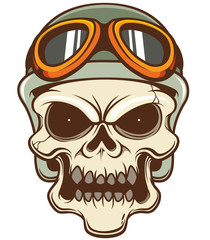 Vector illustration of Skull wearing helmet