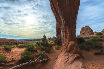 Female hiker at Pine Tree Arch