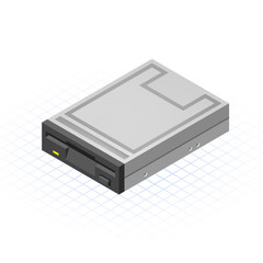 Isometric Floppy Drive Vector Illustration