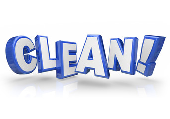 Clean 3d Blue Word Letters Safe Cleanliness
