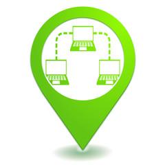 réseau informatique sur symbole localisation vert