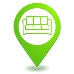 salle d'attente canapé sur symbole localisation vert