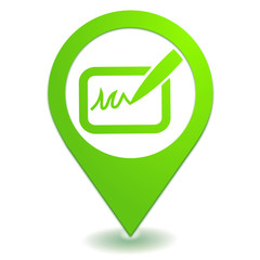 signature sur symbole localisation vert