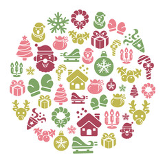 Christmas Element Icons in Circle Shape
