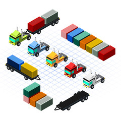 Isometric Trucks with Container Vector Illustration