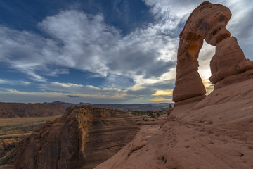 Beautiful sunset sky south side view of Delicate Arch