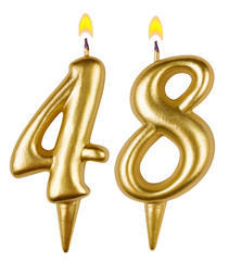 Birthday candles number forty eight isolated on white background