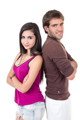 Portrait of attractive young couple posing