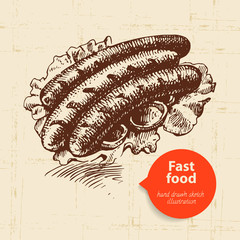 Vintage fast food background. Hand drawn illustration.