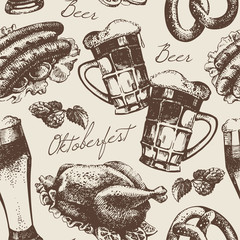 Oktoberfest vintage seamless pattern. Hand drawn illustration