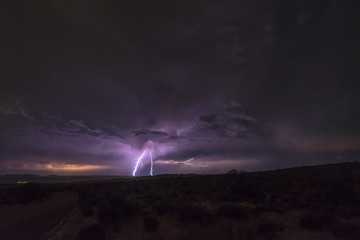 Lightning Strike at night in Canyonlands