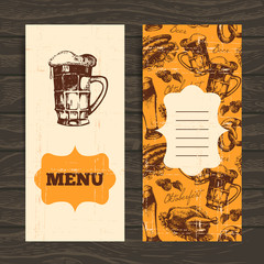 Menu for restaurant, cafe, bar. Oktoberfest vintage background.