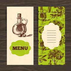 Menu for restaurant, cafe, bar. Olive vintage background.