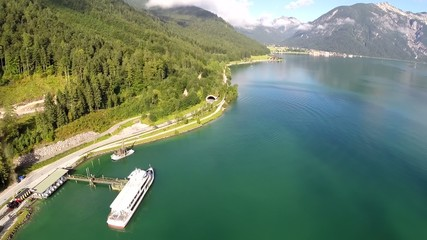 Jetty on a Mountain Lake - Aerial Flight